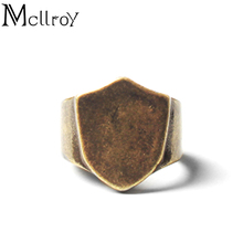 2017 Mcllroy New Europe Fashion Style Vintage Shield Ring Man 316L stainless steel Retro Titanium Steel Man Jewelry Hot USA size(China)