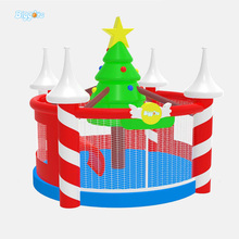 Outdoor Giant Inflatable Jumping Trampoline With Christmas Tree For Decoration