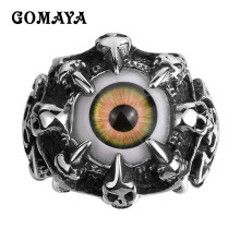 GOMAYA Claw Evil Eye Mens Rings New Fashion Cool Skull Vivid Punk Biker Rock Vintage 316L Stainless Steel Rings for Men(China)