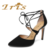 IRIS Brand Sandals Woman Luxury 2017 Gladiator Black High Heel Genuine Leather Cross Tied Pointed Toe Wedding Party Shoes