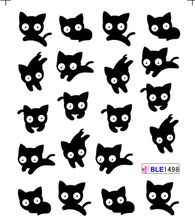 1sheets NEW 3D Beauty Black Cute Cat Nail Art Sexy Stickers Decals Water Transfer Wraps Manicure Styling Tools TRBLE1498(China)