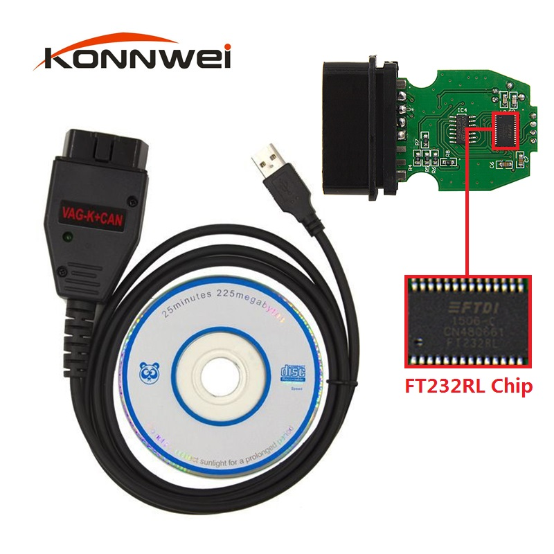 OBD2 Diagnostic-Tool VAG K+CAN Commander 1.4 With FTDI FT232RL PIC18F258 Chip For VW / SKODA / AUDI / SEAT USB Interface Cable(China (Mainland))