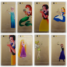 Popular Style Transparent Soft Silicon TPU Cover Skin Snow White Little mermaidc pattern Phone Case Shell For iPhone 4 4s