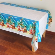 Disposable Plastic Table Clothes Table Cover Tablecloth Santa Waterproof For Christmas Decoration And Match Napkin(China)