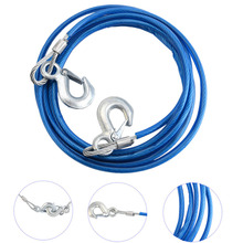 High Quality 5Tons 4m Car Vehicle Boat Steel Wire Tow Rope Towing Pull Strap Rope With Hook Heavy Duty Car Tow Cable