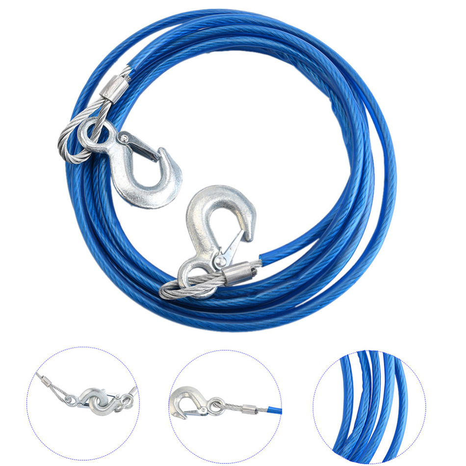 5Tons 4m Car Vehicle Boat Steel Wire Tow Rope Towing Pull Strap Rope With Hook Heavy Duty Car Tow Cable(China (Mainland))