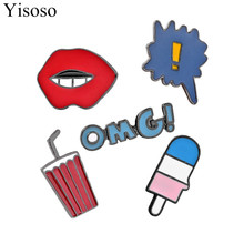 Yisoso Enamel Sexy Red Lips Coke Ice cream OMG Coffee Series Brooch Denim Jacket Pin Suit Hat Jacket Shirt Badge Button XZ021