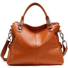 BEST Genuine Leather Ever - Popular leather women handbag first layer Cowhide shoulder bags top handle bags gift for girls(China)