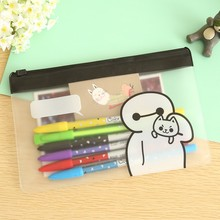 50 pcs/lot Baymax transparent school pencil case for girls Kawaii pencil bag  stationery gift school office material supplies