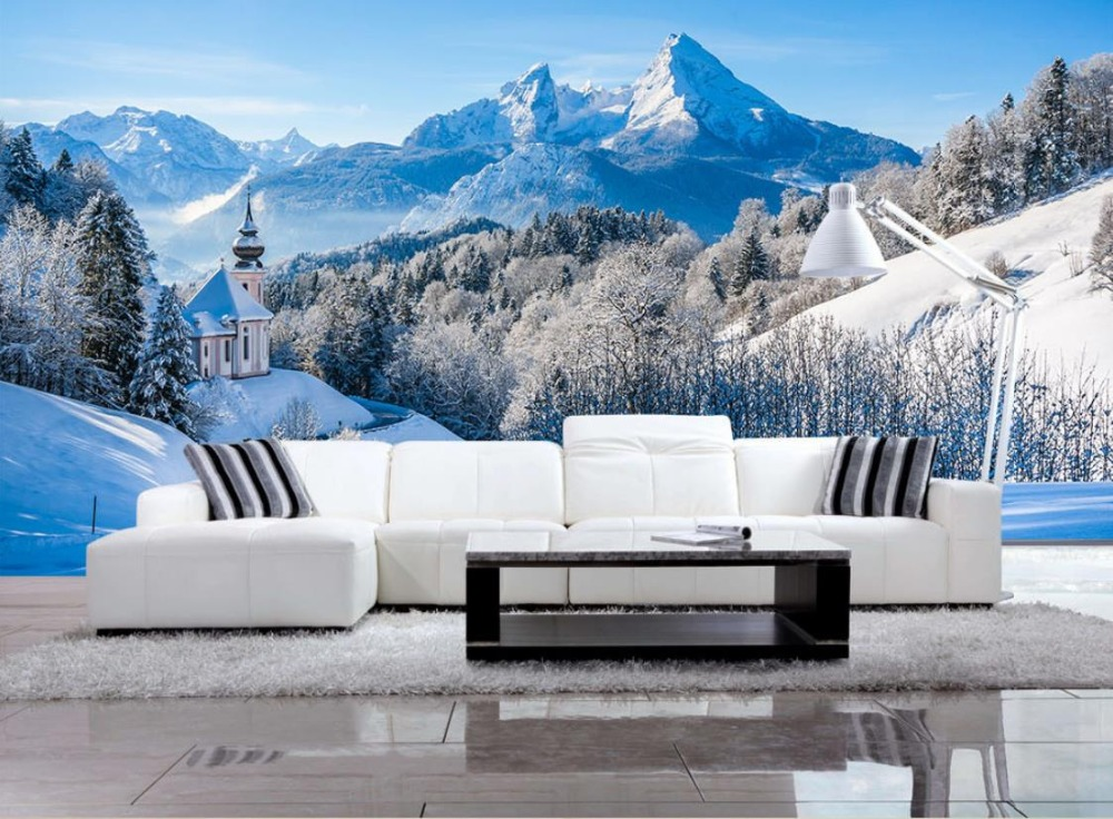 Beautiful European 3d Landscape Wallpaper Snow Mountain beautiful Non-woven 3D Wallpaper Mural Papel de Parede TV background<br>