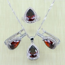 Reginababy Silver color Red created Garnet Jewelry Sets Women Wedding Hoop Earrings/Ring/Necklace/Pendant