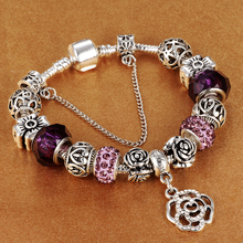 HOMOD 2017 New Style Antique Silver Purple Crystal Rose Charm Bracelet Fit Brand Bracelet&Bangle for Women Jewelry