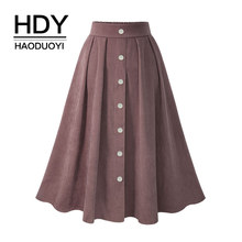HDY Haoduoyi Pleated Skirts Button High Waist Elastic Mid Skirt Korean Style Women Skirts Fashion New 2018 Spring Summer Bottom (China)