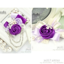Custom! A set of Party / wedding corsage + wrist flower bride / bridesmaid / bridal handmade purple ribbon rose wedding flowers