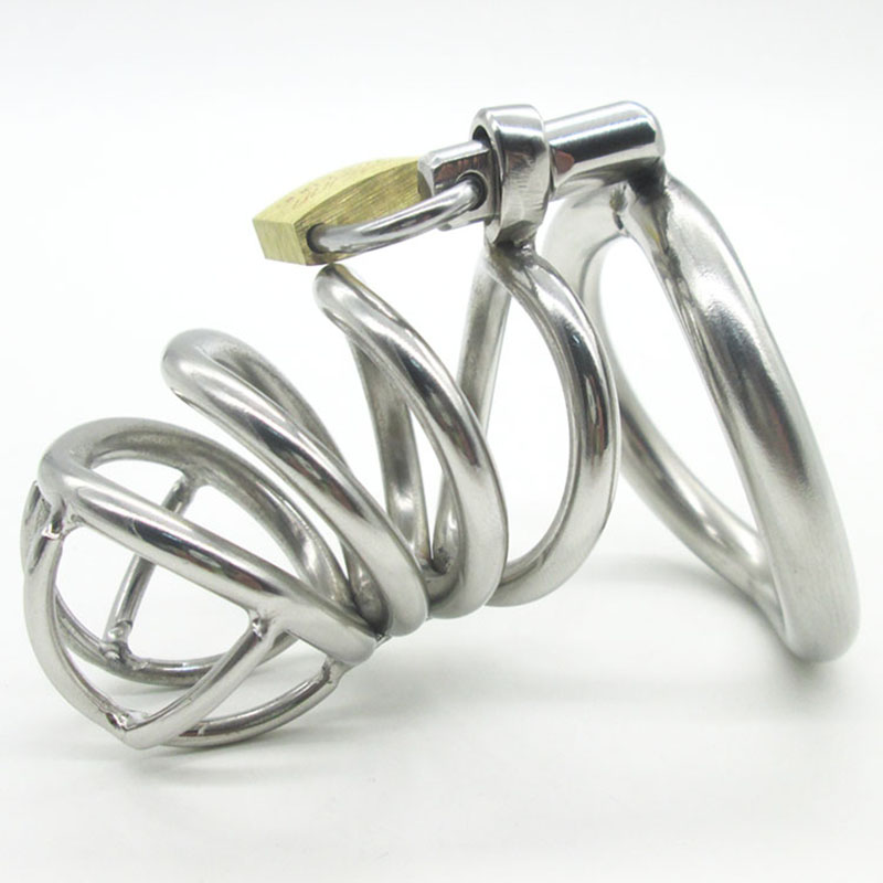 Male Chastity device Stainless Steel Small Adult Cock Cage With arc-shaped Cock Ring BDSM Sex Toys Bondage Men Chastity Belt<br>