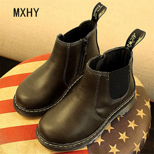 MXHY 2017 Children Leather Boots boys Martin Boots Boys Shoes Single Shoes Little Girl Autumn winter Baby Boots Kids Sneakers