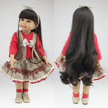 "Buy Free shipping gift 18"" 45cm Girl doll black hair silicone lifelike babies doll baby toys girl birthday gift"