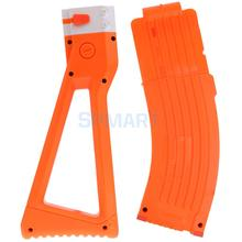 15 Darts Plastic Bullet Magazine Clip + Shoulder Stock Replacement Compatible for NERF Toy Gun ACCS Orange(China)