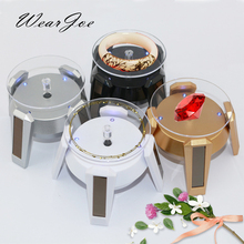 Newest Solar Power Phone&Jewelry Display Stand Holder With LED Light Bracelet Watch 360 Degree Rotating Counter Showcase 4 Color