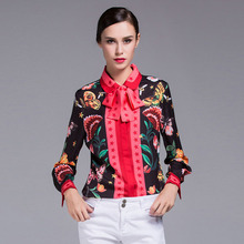 2017 Fresh Design European American Women's Long Sleeve Bow Turn-down Collar Animal Floral Printed Plus Size XXXL Shirt Tops(China)