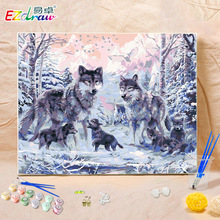 wolf and baby 9085 Picture Painting By Numbers On Wall Acrylic European Style DIY  Oil Painting Coloring By Number Canvas