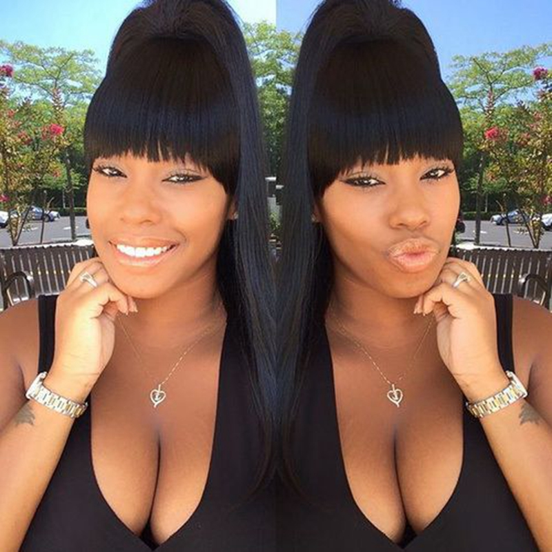 Natural Look Black Straight Lace Front Wigs with Neat Bang Synthetic Lace Front Straight Wig for Woman Heat Resistant Fiber Hair<br><br>Aliexpress