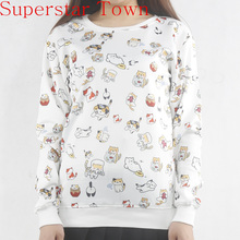 2016 Neko Atsume Cute Cat Sweatshirt Hoodies Pullover Sweatshirt Harajuku Shirt Japanese Female Casual Moletom Tops Tee