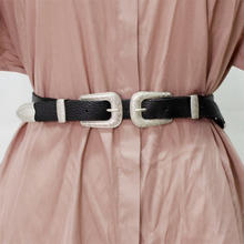 Belt Women Vintage Boho Metal Leather Double Buckle Waist Belt Waistband Elastic PU Leather Corset Belt Cummerbunds Female Belt