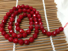 1 strand 4mm Faceted Red Sea Bamboo Coral Round Beads semi precious stone loose beads fit Fashion Jewelry making free shipping(China)