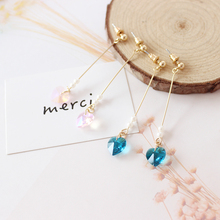 Free shipping fashion ladies jewelry campus literary style blue pink simple heart-shaped pendant girls long earrings Popular new