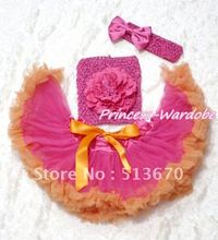 Hot Pink Orange Baby Pettiskirt, Hot Pink Peony Hot Pink Crochet Tube Top, Hot PInk Bow Headband 3PC Set MACT111