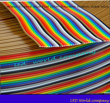 Free shipping  1M 2M 3M 4M 5M 10M 40pin Dupont Wire Flat Color Rainbow Ribbon Cable Wire 1.17mm