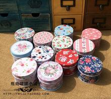 12pcs/lot Lovely Round Mini  Fresh Flower Design Pill Box Jewelry Case Mini Decoration Box Gift Case
