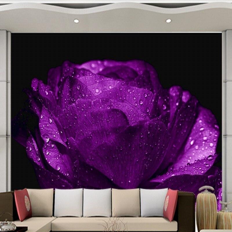 Mural Wallpaper 3D Living Room Bedroom Purple Rose TV Background Personalized Custom Wallpaper for walls 3 d papel de parede<br><br>Aliexpress