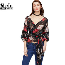 SheIn Women Chiffon Tops Three Quarter Length Sleeve Floral Blouse Bishop Sleeve Flower Print Surplice Wrap Top