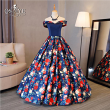 2017 New Fashion Floral Flowers Pattern Print Long Prom Dresses Robe de Soiree Off the Shoulder Lace up Back Evening Party Gown