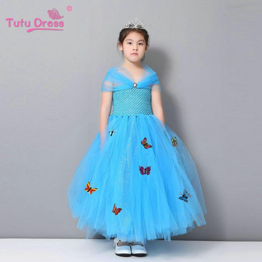 New Cinderella Girl Dress Butterfly Girl Dress Tutu Summer Princess Dress<br><br>Aliexpress