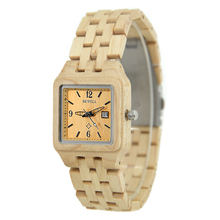 BEWELL Top Luxury Brand Woman Quartz Wooden Watches Calendar Display Square Case Wristwatch Ladies Gift with Box 130A