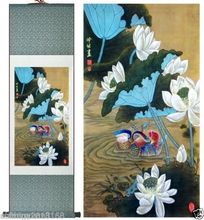 Home collection China suzhou silk Mandarin duck scroll painting