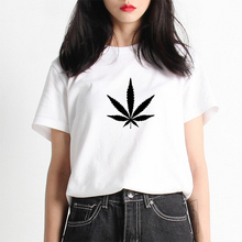 High Quality Mercerized Cotton Woman T-shirt Novel Weed Graphic T Shirt Top Tee Womens Letter Print Harajuku Totoro Tshirt(China)