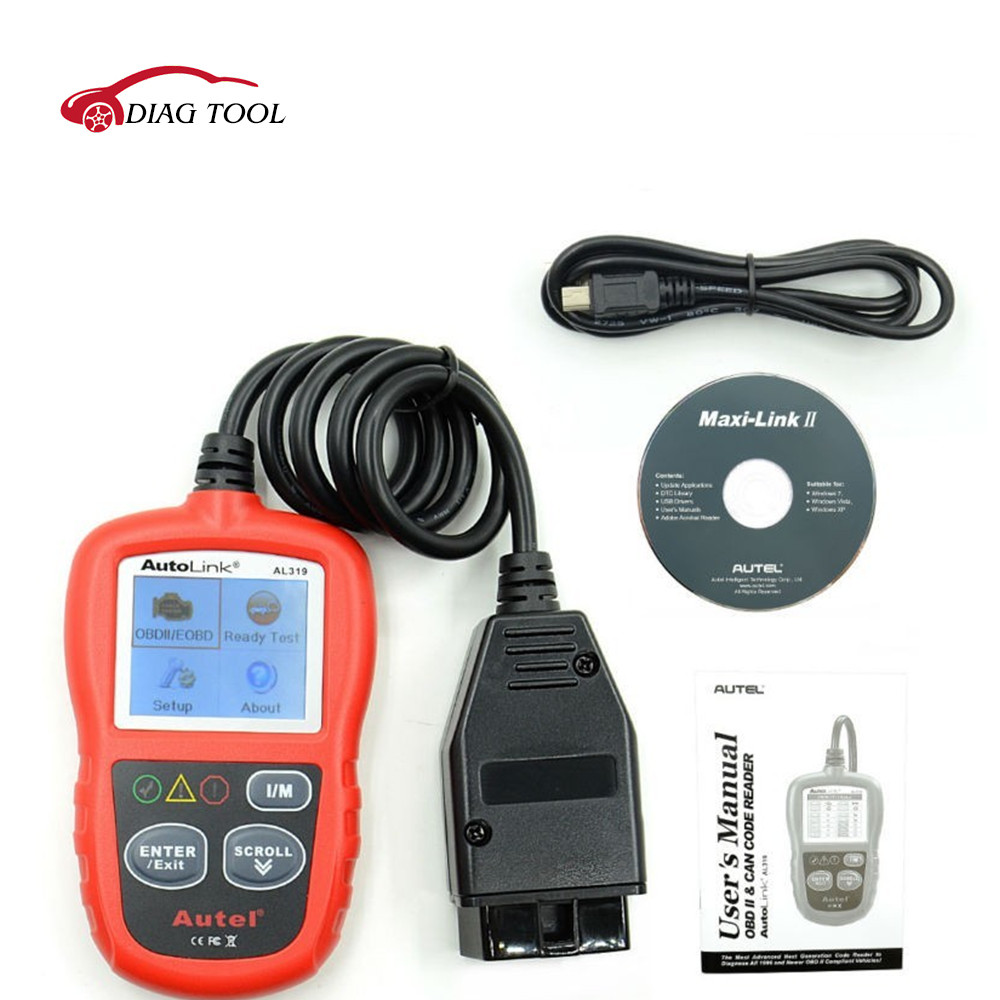 Autel OBD2 &amp; Can Code Reader Autel AL319 Auto Link AL319 Car OBD2 Scanner Diagnostic Tool Free Shipping<br>