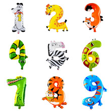 1 Pc 16 inch Hot Fashion 0-9 Lovely Inflatable Animal Number Foil Balloon For Wedding Party Baby Toys