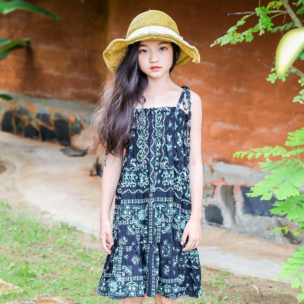 cotton teenagers 2018 girls dress summer kids dresses for girls beach holiday flowers printed baby dress red black clothing<br>