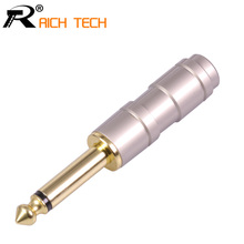 3pcs Luxury Smooth Gold-plated Audio Plug Connector 6.35mm Mono Plug Assembly Jack 6.35 Microphone Plug DIY Speaker adapter