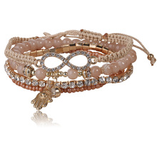 Luxury Moonstone Multilayer Charms Bracelet Fatima Hamsa Hand Infinity Beaded Braclet Braided Thread Jewelry Femme(China)