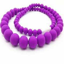 Classic Teething Necklace FDA Approved Silicone Jewels Baby Teethers Baby Chew Necklace Silicone Beads(China)