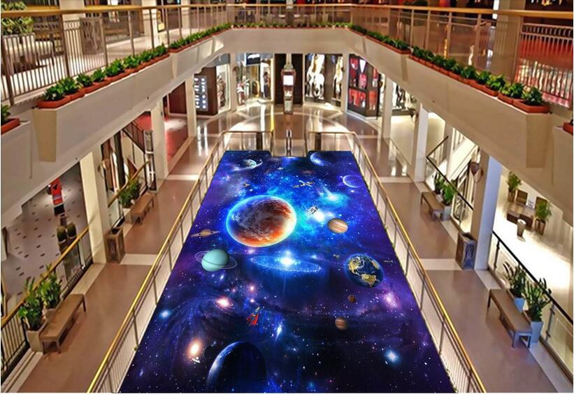 3d pvc flooring custom photo Self-adhesive material picture 3 d stars galactic spacecraft painting 3d wall room murals wallpaper<br>