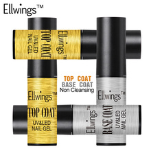 Ellwings Top Base Coat Soak Off LED/UV Nail Gel Lacquer Long Last Gel Nail Varnish Non Cleaning Top Coat Gel Polish