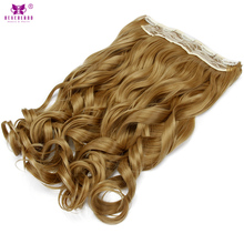 Neverland Wavy Synthetic Fiber Hair 22inch 55cm One Piece 5Clips 27# Honey Blonde Clip in Hair Extension Natural Hairpiece Wigs(China)