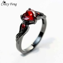 Buy Crazy Feng Rubby Red Zirconia Love Rings Women Crystal Wedding Accessories Gun Black Filled Angel Wings Finger Ring Jewelry for $1.36 in AliExpress store
